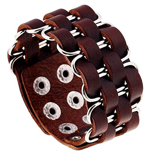 PopJ Good Matching Leather Bracelet Cuff, Metal Circle Braided Bangle Wristband Cuff, Handmade Jewelry