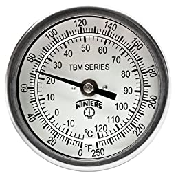 Winters TBM Series Stainless Steel 304 Dual Scale Bi-Metal Thermometer, 6\