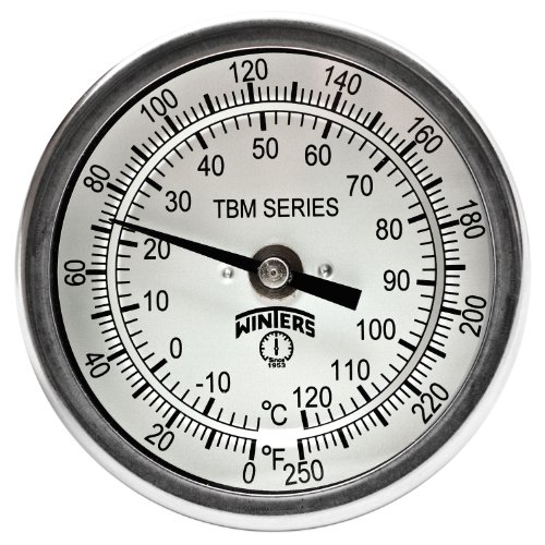 Winters TBM Series Stainless Steel 304 Dual Scale Bi-Metal Thermometer, 6 Stem, 1 2 NPT Fixed Center Back Mount Connection, 3 Dial, 0-250 F C Range