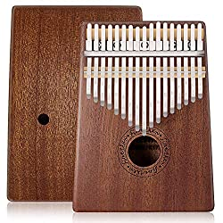 Kalimba 17 Key Thumb Piano, Mbira Mahogany and Ore Metal Tines Finger Piano, Portable Musical Instrument Gifts for Kids and Adults Beginners by FINETHER