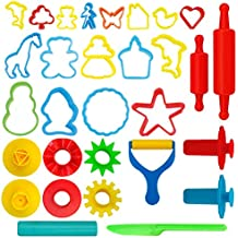 Kiddy Dough 24-Piece Tools Dough & Clay Party Pack w/Animal Shapes – Mega Tool Playset Includes 24 Colorful Cutters, Molds, Rollers & Play Accessories + 2 BONUS Surprise Extruders
