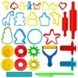 Kiddy Dough 24-Piece Tools Play Dough & Clay Party Pack w/Animal Shapes – Mega Tool Playset Includes 24 Colorful Cutters, Molds, Rollers & Play Accessories + 2 BONUS Surprise Extruders