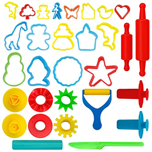 KIDDY DOUGH 24-Piece Tools Dough & Clay Party Pack w/Animal Shapes - Mega Tool Playset Includes 22 Colorful Cutters, Molds, Rollers & Play Accessories