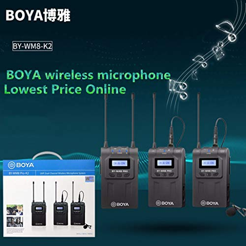 IAMCOOL BOYA Professional Wireless Lavalier Mic,by-WM8 Pro-K2 UHF Wireless Microphone Audio Recorder for Canon Camcorder (AS Shown, 1.2m)