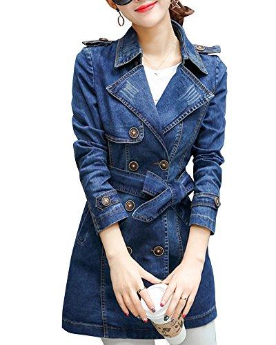 Blouson ZongSen Veste Jeans Boutonnage Comme Longue Jacket Manteau Femmes Double Denim Trench Image vBZvqr