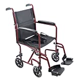 Mefeir 19'' Medical Ultra Lightweight Transport Folding Wheelchair,With Padded Armrests,For Elder Disabled People Scooter Comfortable Oxford Cloth (Red)