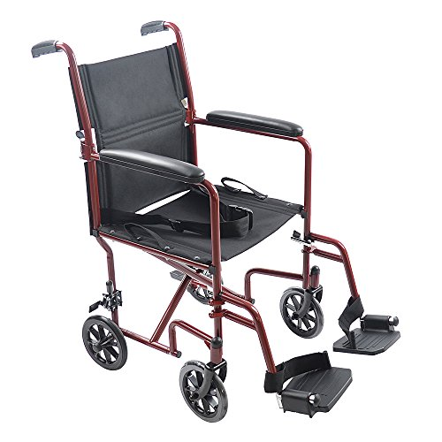 Mefeir 19'' Medical Ultra Lightweight Transport Folding Wheelchair,with Padded Armrests,for Elder Disabled People Scooter Comfortable Oxford Cloth (Red) by Mefeir
