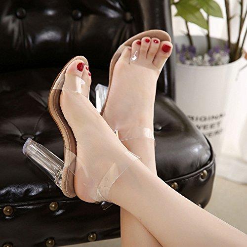 DKFJKI Talons Hauts pour Femmes Sandales Transparentes Chaussures en Cristal de Passerelle Boucle Une Pièce Mode Brown RLLia5vJ0