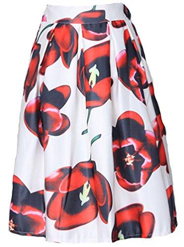 Helan haute de ebouriffer jupe femmes Taille floral Blanc Rouge Fleurs cru rxrBOF4w