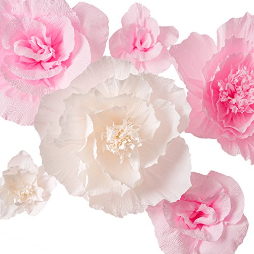 Handcrafted Flowers,Large Crepe Paper Flowers(Pink and White flower Set Of 6)For Wedding Backdrop, Baby Nursery Home Decor, Birthday Party, Photo Backdrop,Nursery Wall,Archway Decor,Event Decorations]()