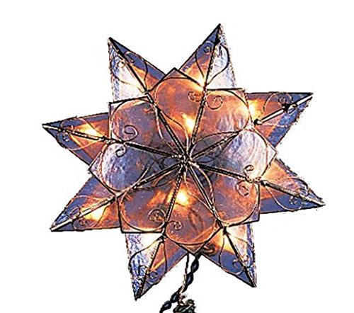 Kurt Adler 10-Light 8-Point Capiz Star Christmas Treetop, Clear