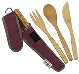 Bamboo Travel Utensils - To-Go Ware Utensil Set with Carrying Case (Merlot)
