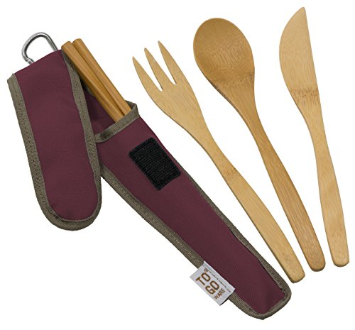 Bamboo Travel Utensils - To-Go Ware Utensil Set with Carrying Case (Merlot)