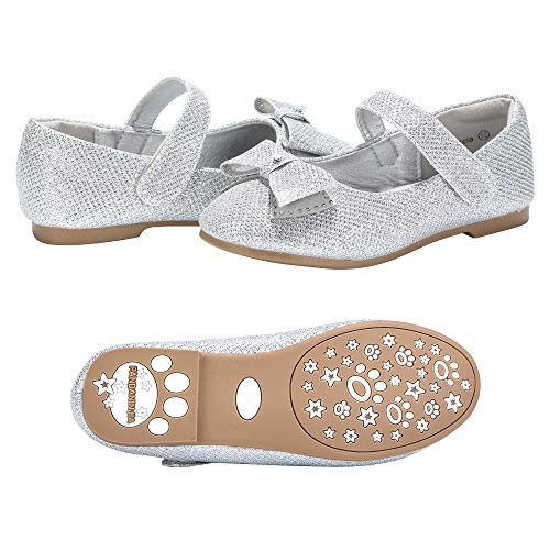 PANDANINJIA Toddler/Little Kids Felicia Bow Glitter Silver Ballet Flower Mary Jane Girls Flats Dress Shoes]()