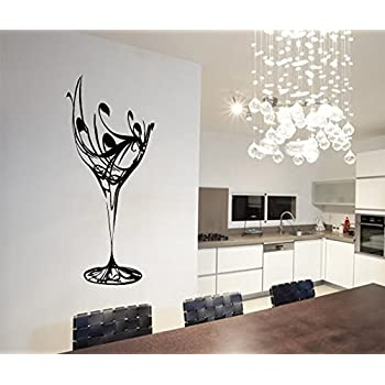 Black Abstract Elegant Wine Glass Wall Decal Kitchen Wall Sticker Removable Vinyl Kitchen Decoration