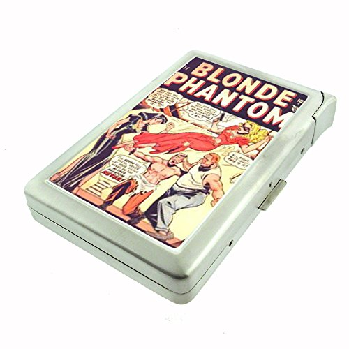 40s Cigarette - Blonde Phantom 1940s Comic Pin-Up Cigarette Case with Built In Lighter D-382