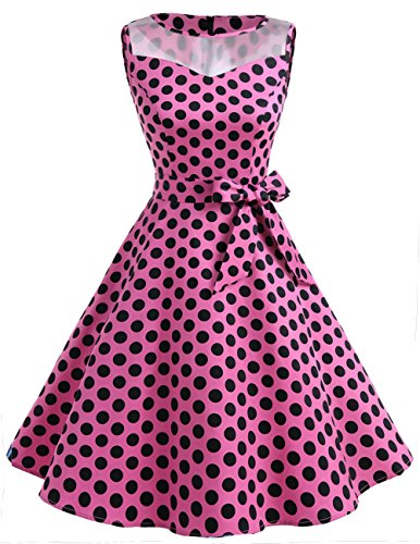 DRESSTELLS Vintage 1950s Rockabilly Illusion Dress Retro Cocktail See Through Dress Pink Black Dot L