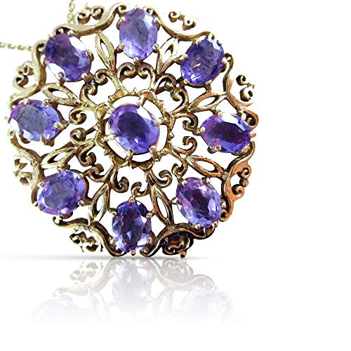 - Milano Jewelers Victorian 14CT AAA Amethyst 14KT Yellow Gold Flower PIN Brooch #19164