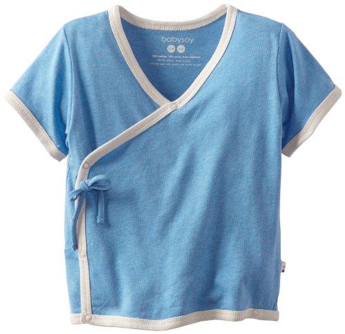 Babysoy Unisex Baby Kimono Tee, Lake Blue, 12 18 Months (Unisex Kimono)