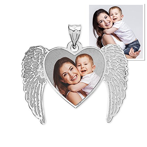 New Angel Heart Picture Pendant 3/4 Inch x 5/8 Inch - 10K White Gold with Engraving