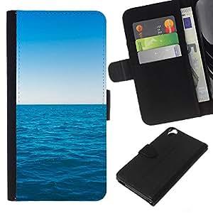 LECELL--Cuero de la tarjeta la carpeta del tirón Smartphone Slots Protección Holder For HTC Desire 820 -- Azul océano y el cielo --