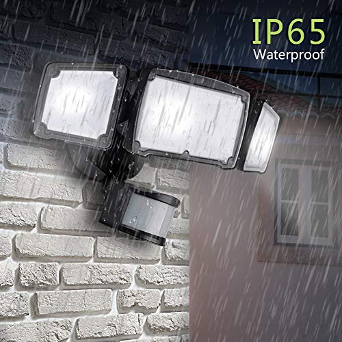 GLORIOUS-LITE 39W LED Security Light, 3500LM Super Bright Security Motion Sensor Light, 5500K, IP65 Waterproof, ETL Listed, Adjustable 3 Heads LED Outdoor Flood Light for Yard, Pathway & Patio(Black) by GLORIOUS-LITE (Image #3)