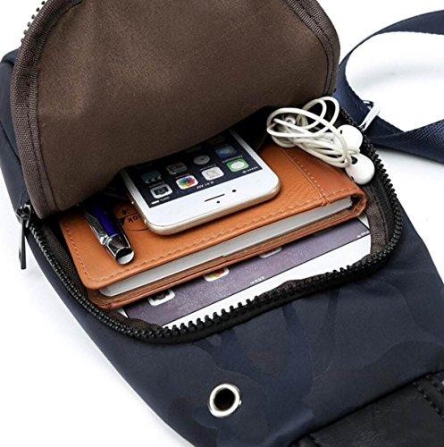 Ocasional De Los Hombres Bolso De La Manera Bolsillos En El Pecho Hombro Messenger Bag