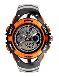 SKMEI Kid's Digital Multifunction Led Week Alarm Boys Girls Sport Analog Chronograph Outdoors Bracelet Wrist Watch Orange