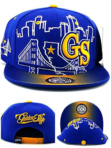 Leader of the Game Golden State New Youth Kids GS Skyline 3 Bridge Warriors Colors Blue Gold Era Snapback Hat Cap 19in to 21in Head Size -
