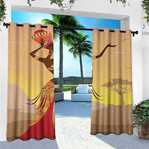 Hengshu African, Outdoor Curtain Waterproof Rustproof Grommet Drape,African Woman in Desert with Gulls Flying Around Folk Female Stylish Artful Print, W108 x L108 Inch, Amber Tan
