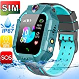 【SIM Card Included】 Kids Smart Watches-GPS Tracker Smart Watch Phone for Boys Girls -Waterproof Smartwatch with SOS Games Touch Digital Wrist Watch Holiday Toys Birthday Gifts (Green)