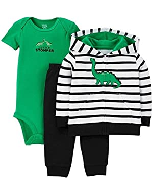 Carter's Just One You Baby Boys' 3 Piece Dinosaure Cardigan Set -Navy/Green