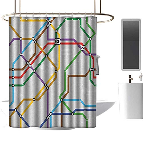 (Qenuan Home Decor Shower Curtain by Map,Stripes in Vibrant Colors Metro Scheme Subway Stations Abstract Railroad Transportation, Multicolor,Waterproof Design Fabric Bathroom Curtain)