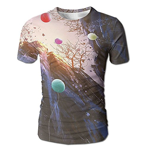 Edgar John Colorful Balloons in The Sky Surrounded by Cliffs Cave High Peaks Men's Short Sleeve Tshirt XL (Cliff Wash Jean)