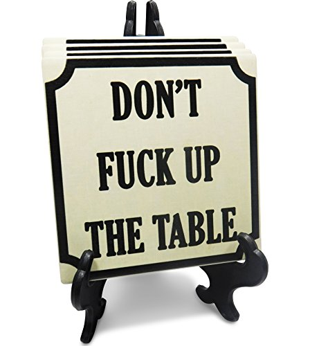 - Absorbent Stone drink Coasters - Set with a holder - Funny coasters for drinks