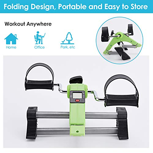 SYNTEAM Foldable Pedal Exerciser with LCD monitor bike exercise machine for Seniors-Fully Assembled, No Tools Required(Green) by Synteam (Image #2)