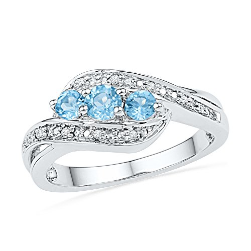 Size - 7 - Solid 925 Sterling Silver Round Simulated Blue Topaz and White Diamond Engagement Ring OR Fashion Band Channel Set 3 Stone Shaped Halo Ring (.04 cttw)