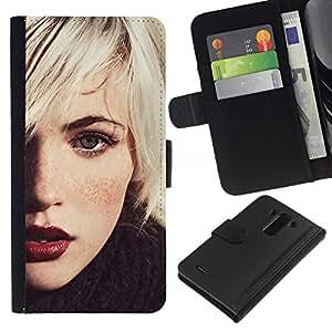 NEECELL GIFT forCITY // Billetera de cuero Caso Cubierta de protección Carcasa / Leather Wallet Case for LG G3 // Rubio Hipster Chica