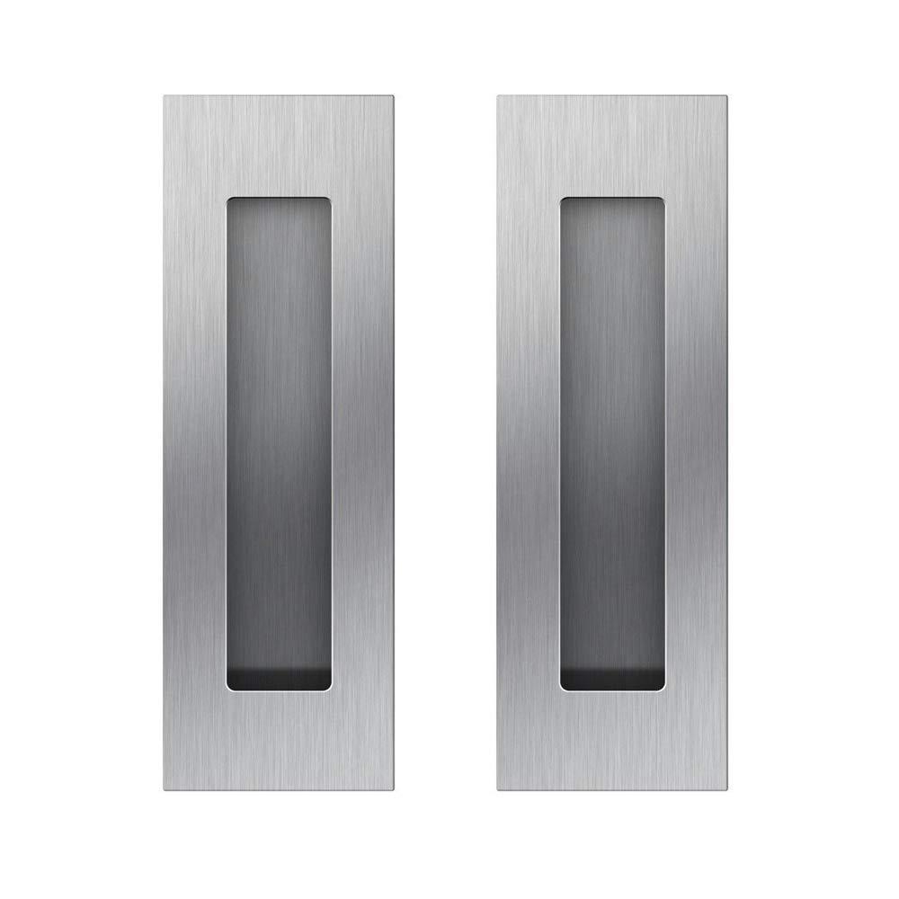 Funsmore FlushPull Handle 6 inch Rectangular Flush Recessed Sliding Door Pull Handles for Barn Door Hardware 2 Pack Silver