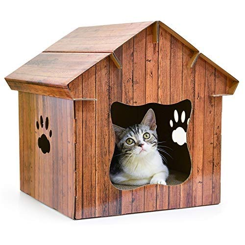 A PISSV Pet Nest Corrugated Cardboard Cat Scratch Board Wooden Cat House Cat Claw Predection Cat Litter Lounge Toy Entertainment Home Decoration, Two-color Optional, 15.8  16  15.7in (Design   A)