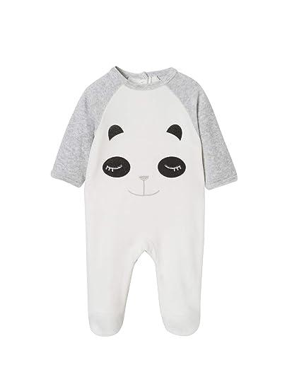 VERTBAUDET Pijama de terciopelo para bebé, con automáticos detrás Gris claro jaspeado 1M-54CM