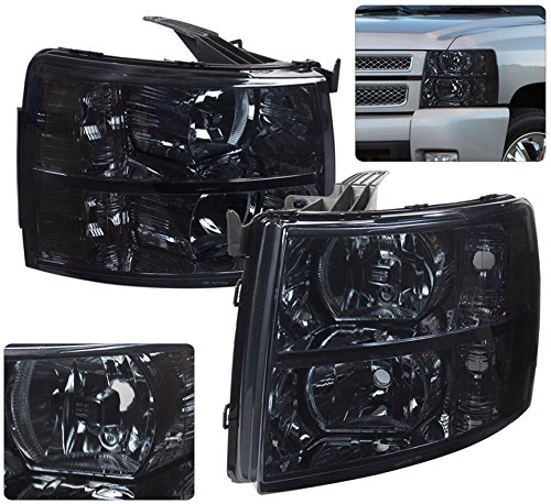 AJP Distributors For Chevy Chevrolet Silverado 1500 2500 3500 HD Headlights Lights Lamps 2007 2008 2009 2010 2011 2012 2013 2014 07 08 09 10 11 12 13 14 (Chrome Housing Smoke Lens Clear Reflector)
