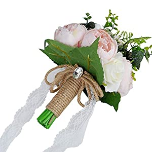 YSUCAU Wedding Bridal Bouquet, 9.8'' Wedding Bride Bouquet, Wedding Holding Bouquet with Artificial Peony and Rose Fiowers, Natural Jute Twine, Crystal for Wedding Church Party and Home Decor 2