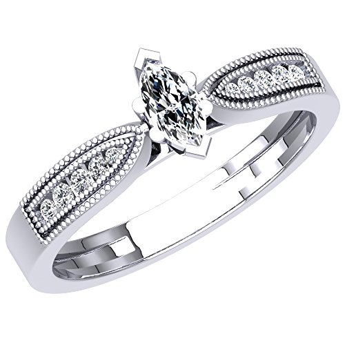 - Dazzlingrock Collection 0.30 Carat (ctw) 18K Marquise & Round Diamond Bridal Engagement Ring 1/3 CT, White Gold, Size 8
