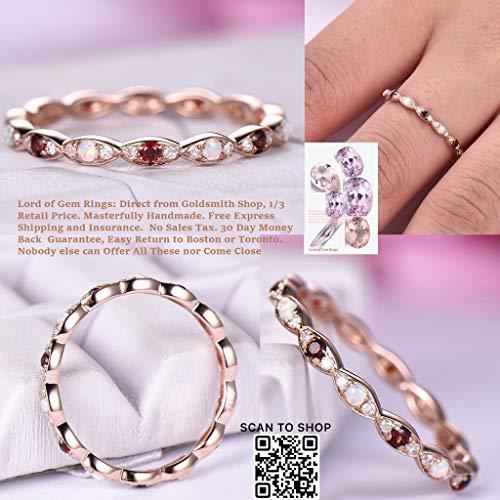 (Opal/Garnet Diamond Wedding Band Art Deco Eternity Ring 14K Rose Gold)