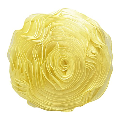 Fennco Styles Hayley Rose Chiffon Decorative Throw Pillow, Filler Included, 16-inch Round (Yellow)
