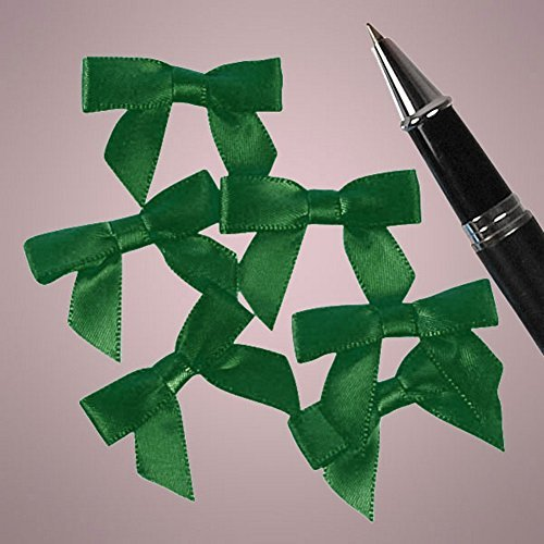 Mini Emerald Green Satin Bows - 1 3/8 in. x 1in. - 50 Pack by Generic