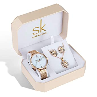 ad6941fdc239cf Women Quartz Wrist Watches with Rose Gold Earring and Necklace 3 Sets for  Christmas Gifts (