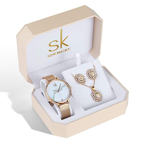Ladies Christmas Gifts.Women Watch Sets Quartz Wrist Watches With Rose Gold Earring And Necklace 3 Sets For Christmas Gifts
