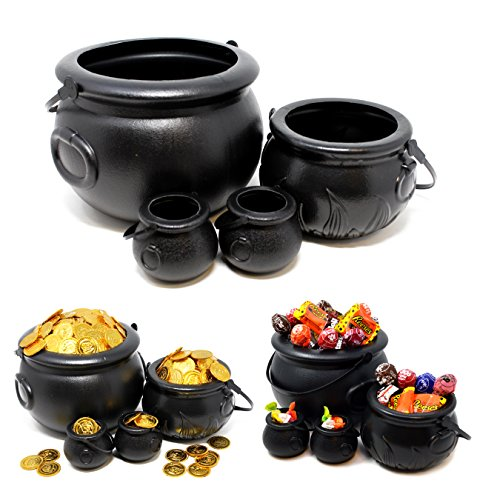 Large Candy Props (Spooktacular Creations Halloween Black Cauldron with Handle 8'' for Halloween Parties Candy Bucket, Candy Kettle and Pot of Gold Cauldron (Pack of 4))